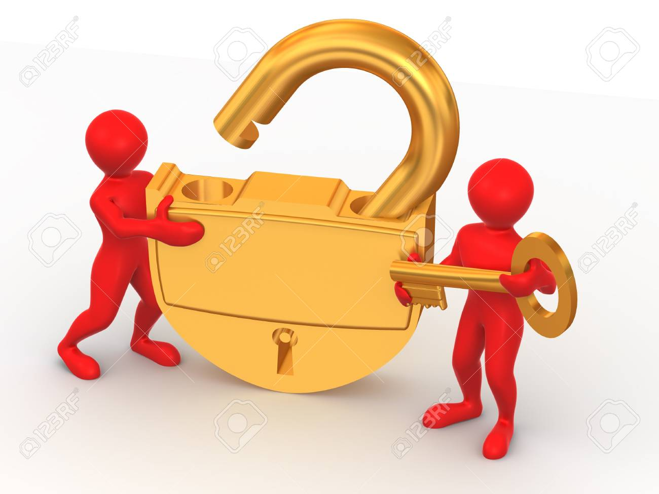 Two man with lock. 3d Stock Photo - 4293985