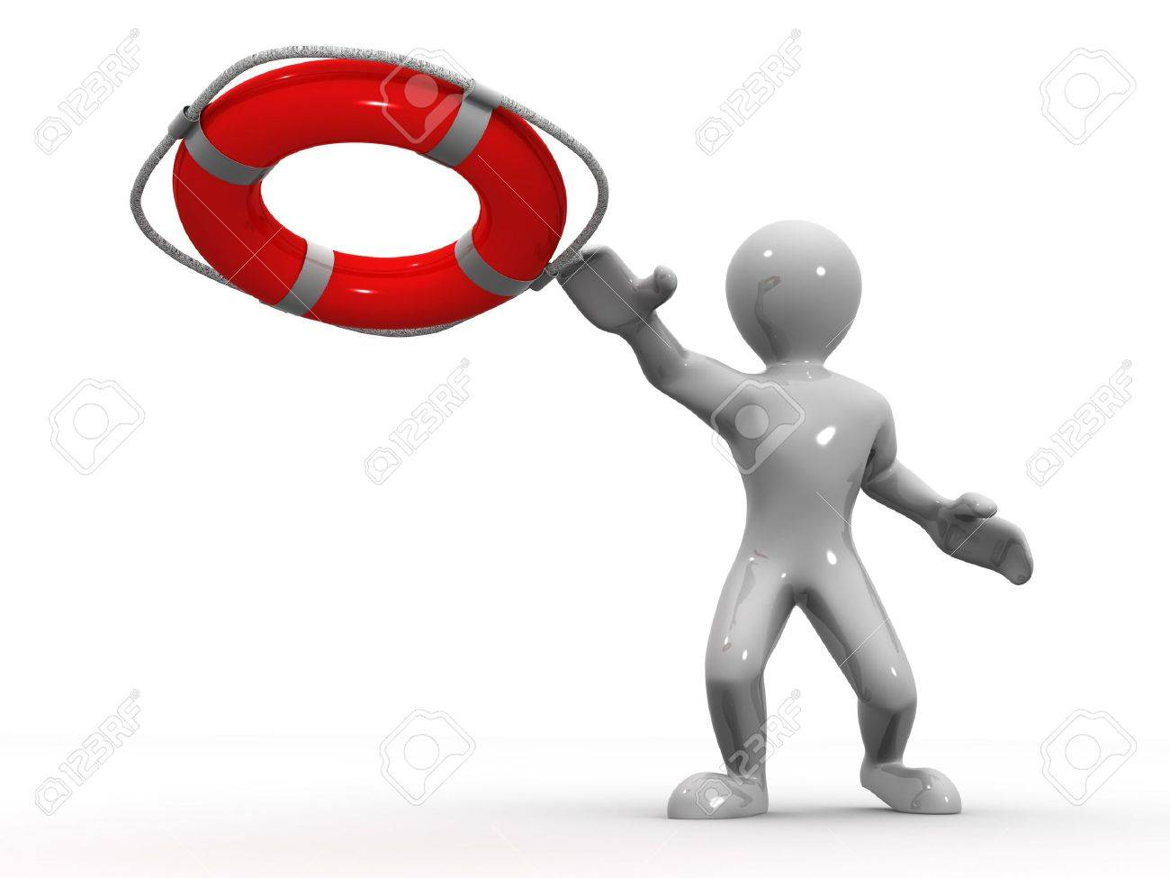 Men wtih lifepreserver. 3d Stock Photo - 4910512