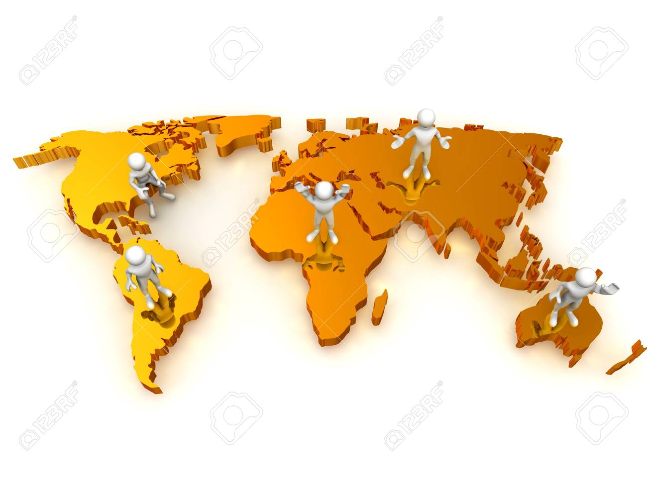 People with map of world. 3d Stock Photo - 5035118