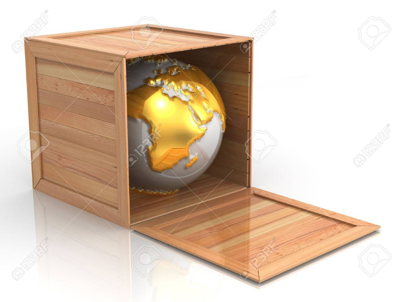 Earth in crate. 3d Stock Photo - 5411885