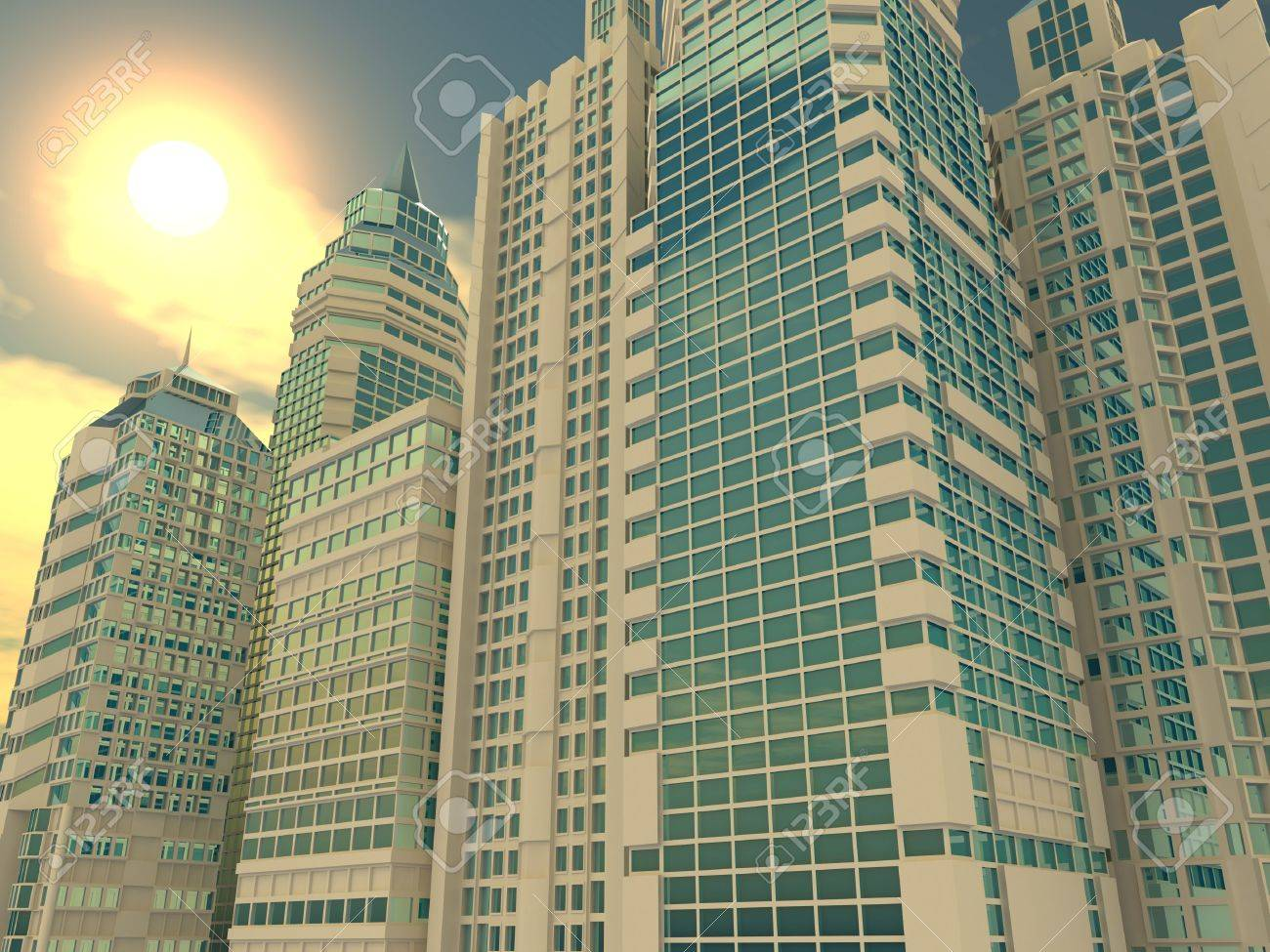 Skyscrapers. Background. 3d Stock Photo - 6338812