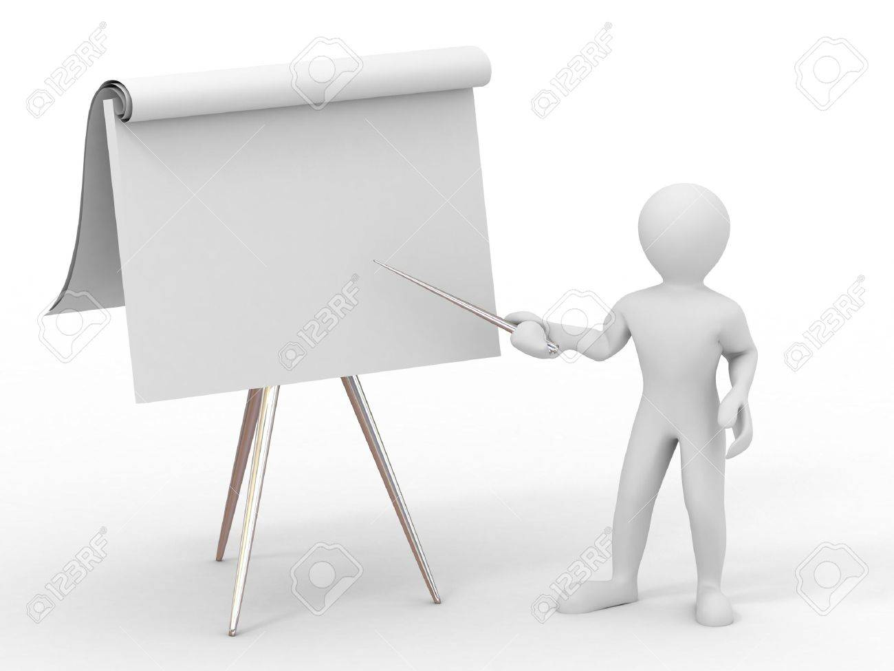 Men with empty board. 3d Stock Photo - 6421978