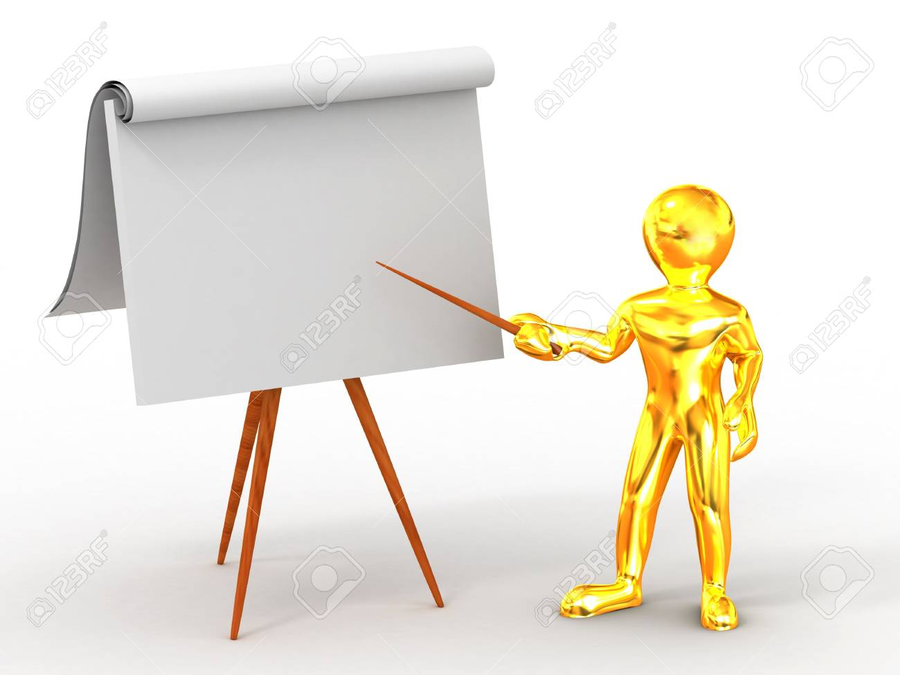 Men with empty board. 3d Stock Photo - 6487554