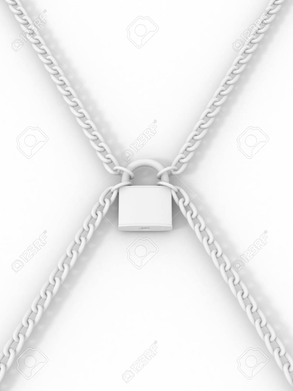 Lock, chain and keys. 3d Stock Photo - 6487548