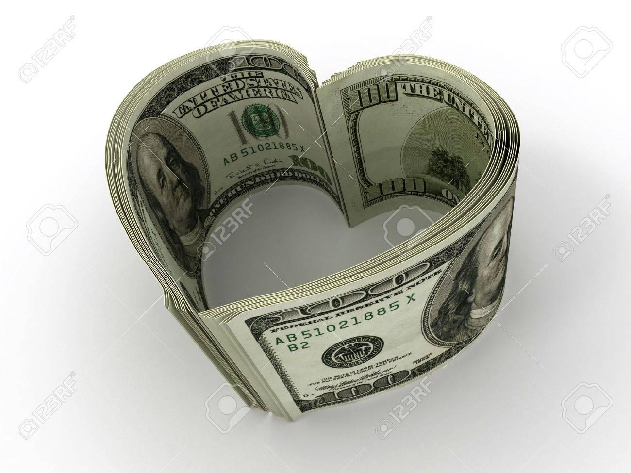 Money. Heart. 3d Stock Photo - 6842517