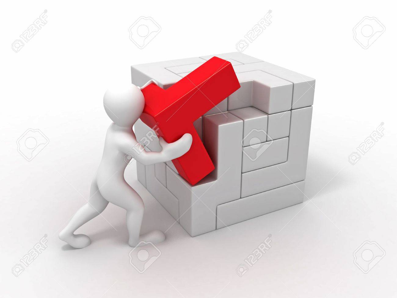 Men with a cube built from blocks. Puzzle. 3d Stock Photo - 7151979