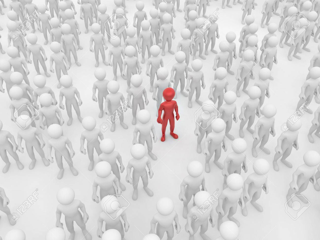 Men in crowd. Conceptual image of individuality. 3d Stock Photo - 7826779