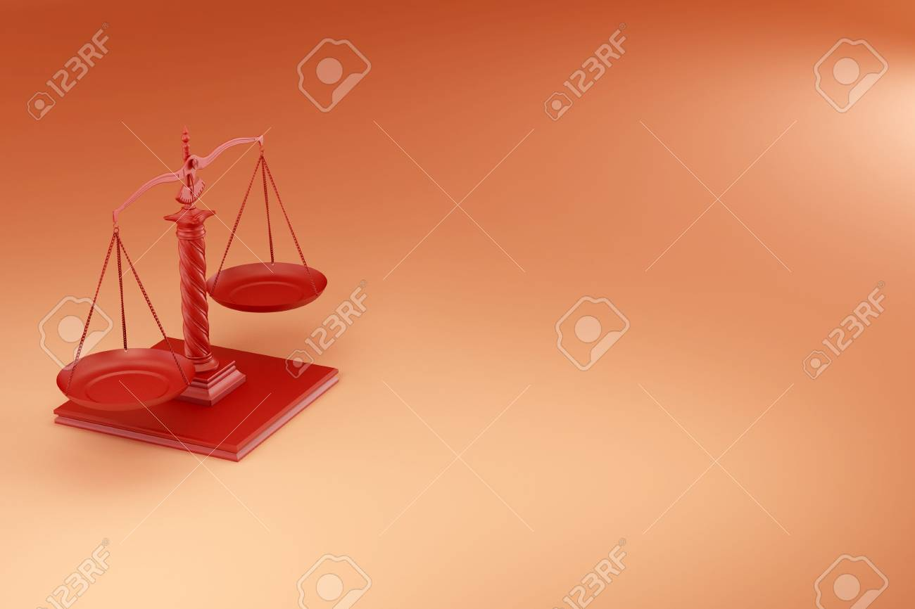 Scale on yellow background. Symbol of justice. 3d Stock Photo - 7826764