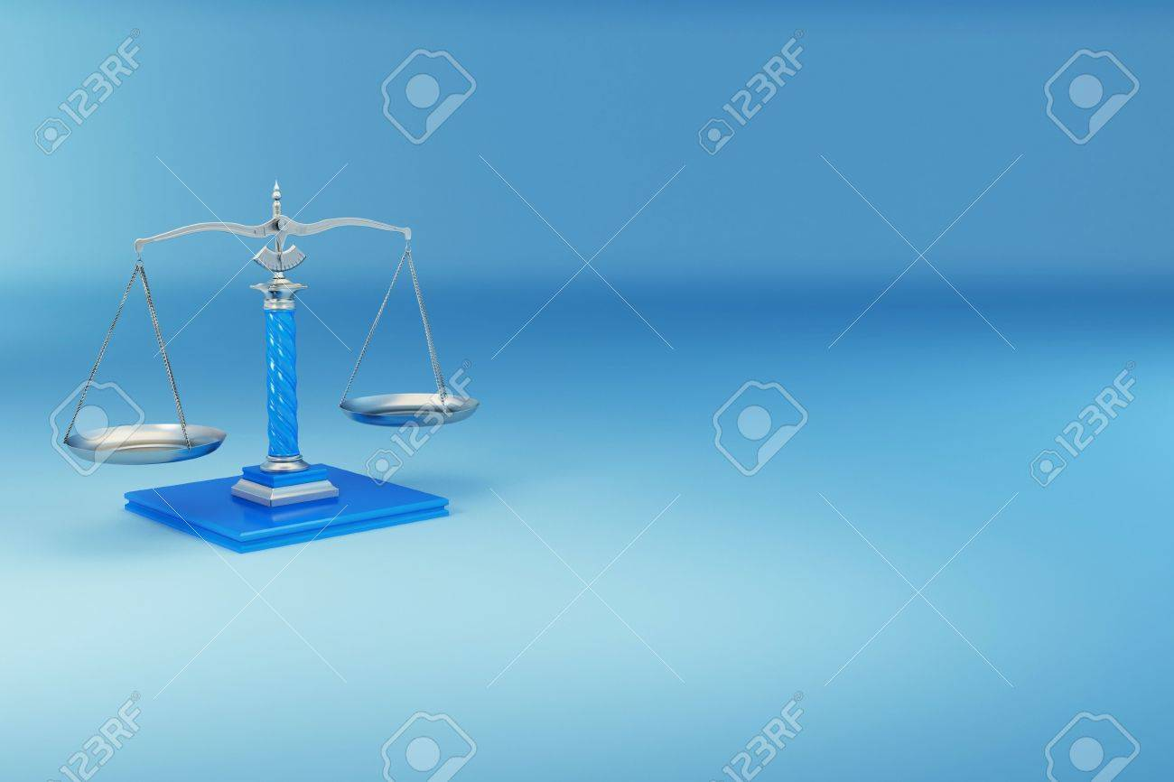 Scale on blue background. Symbol of justice. 3d Stock Photo - 7826765