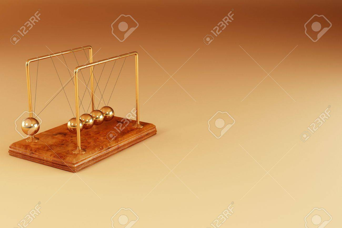 Perpetual motion. Pendulum on yellow background. 3d Stock Photo - 8049975