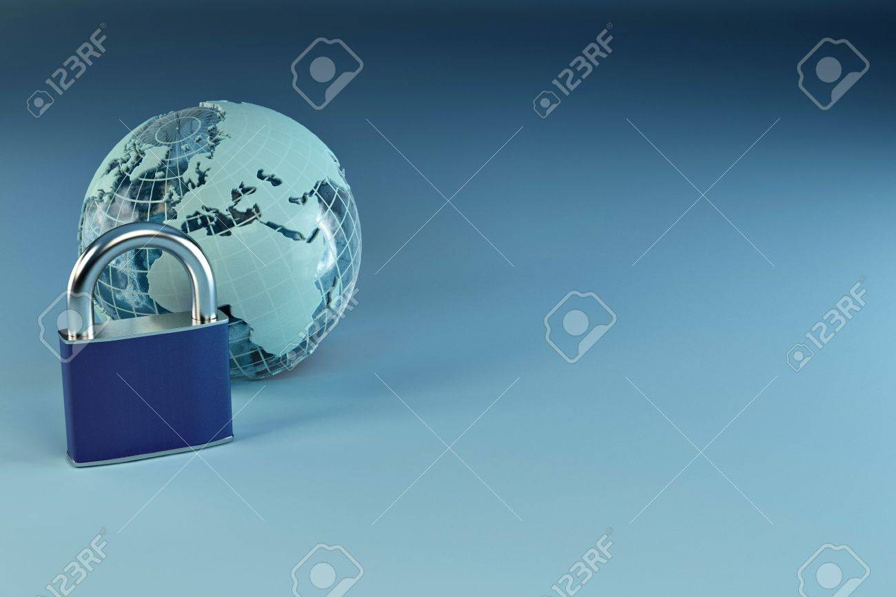 Earth with padlock on blue background. 3d Stock Photo - 8066256