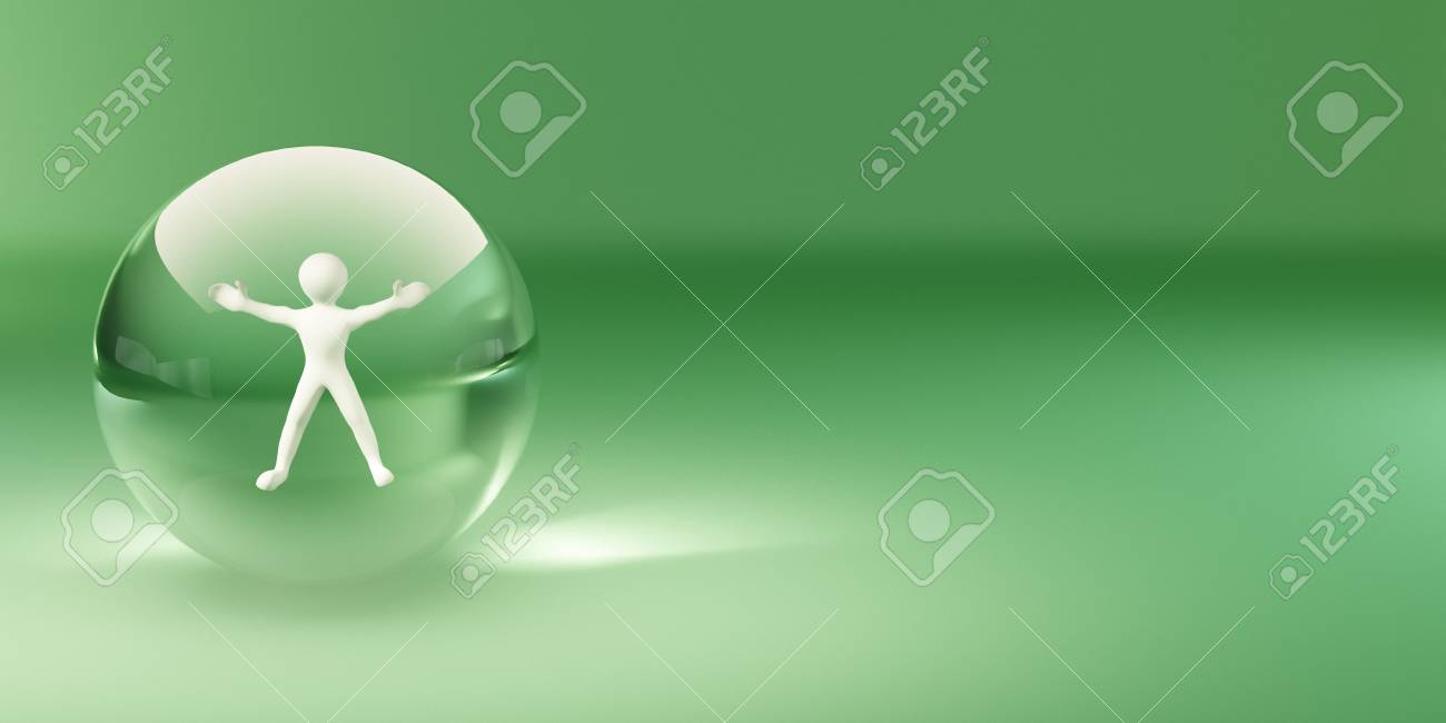 People on the glass sphere. Abstract background. 3d Stock Photo - 8186437
