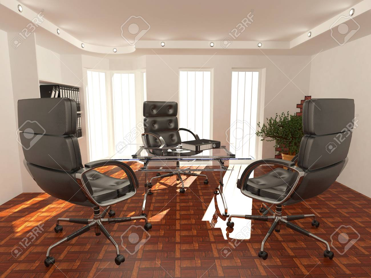 Office interior. Armchair, desk and folders. Recruitment. 3d Stock Photo - 8186768