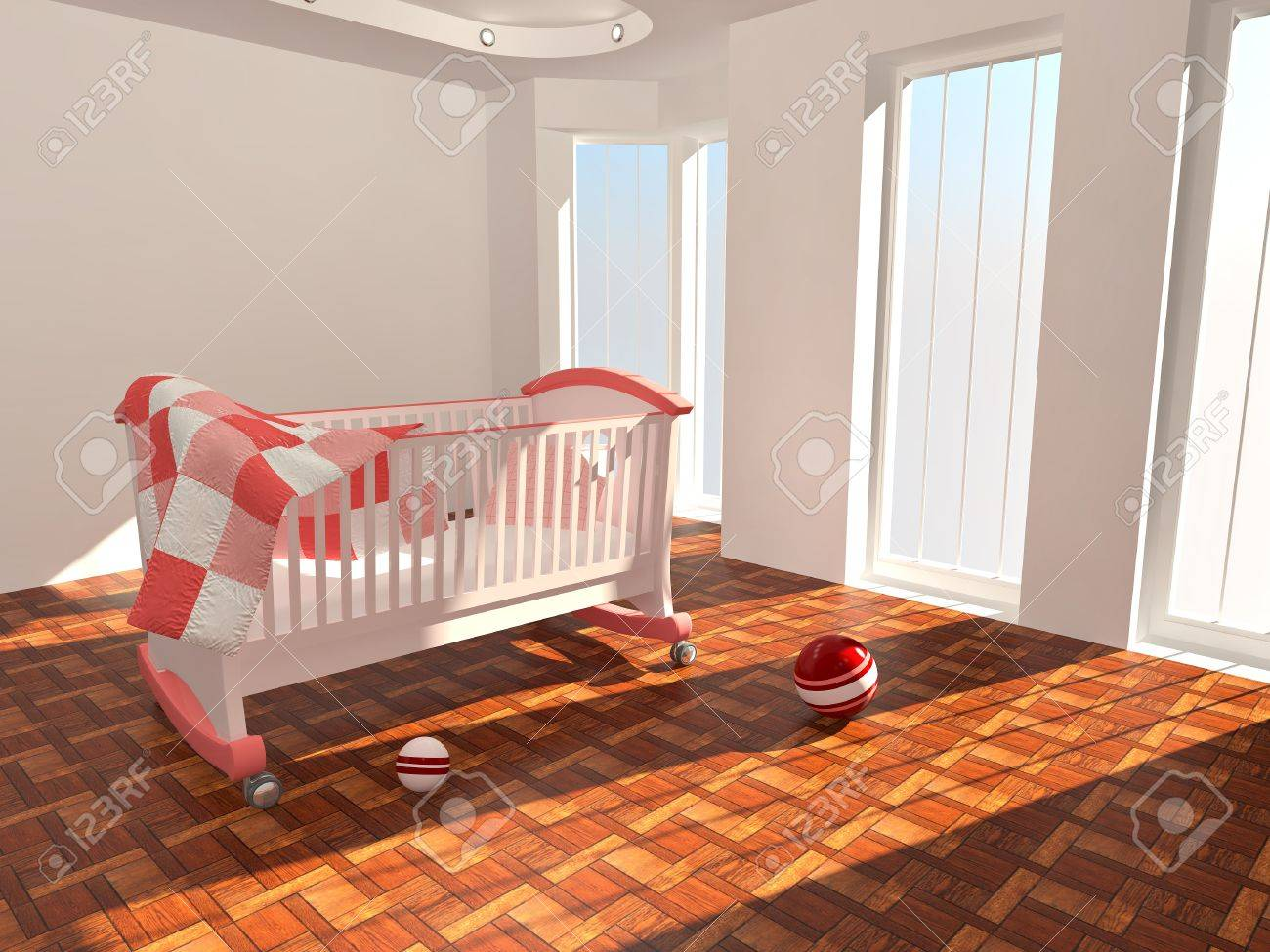 Children's bed in an empty room, lit by sunlight. 3d Stock Photo - 8247433