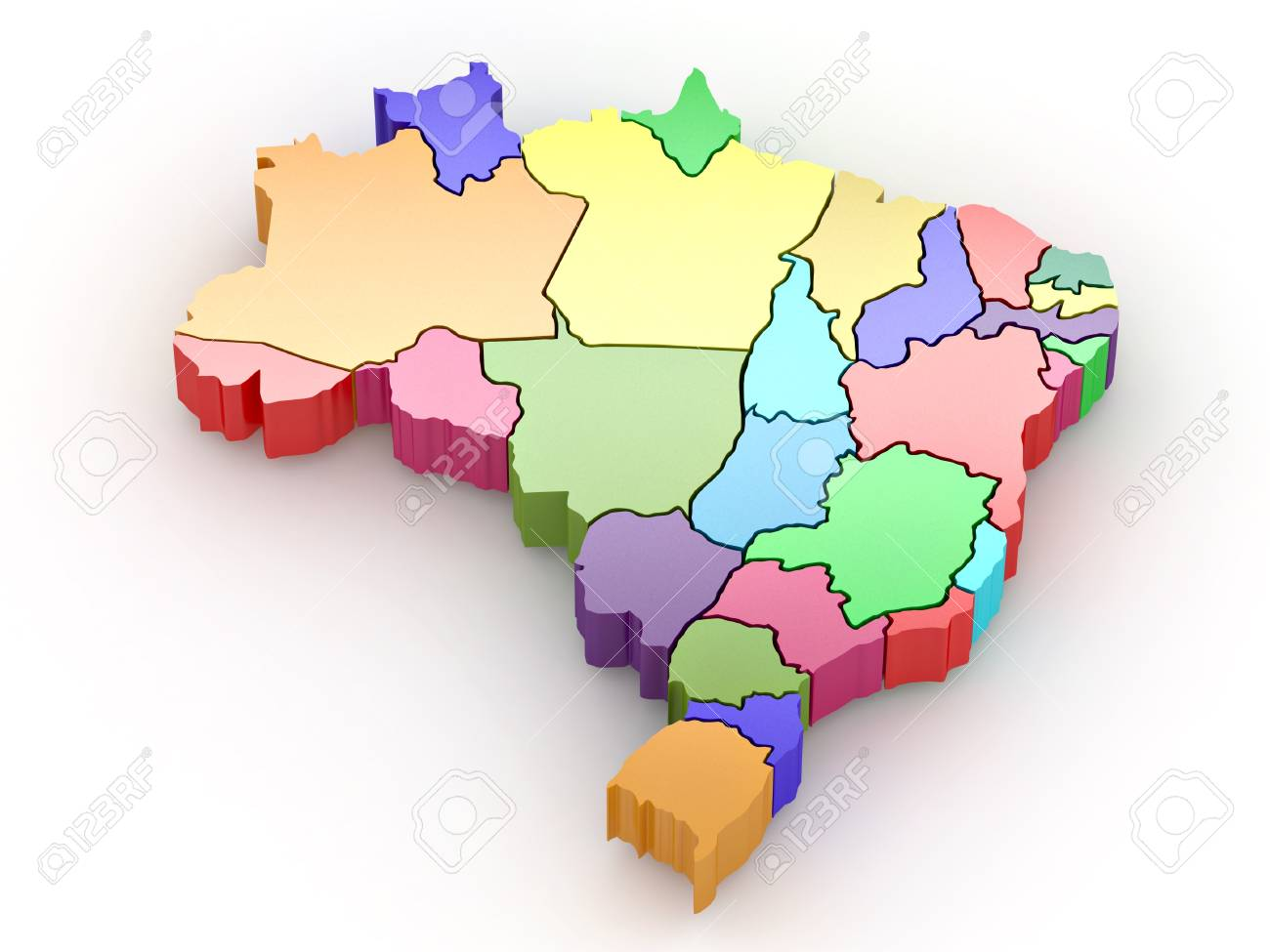 Three-dimensional map of Brazil on white isolated background. 3d Stock Photo - 8563292