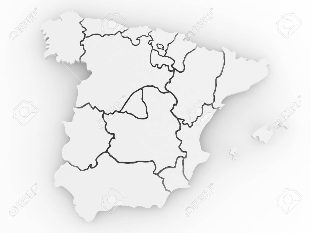 Mapa De España 3d.Three Dimensional Map Of Spain On White Isolated Background