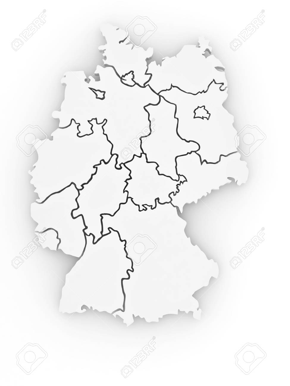 Three-dimensional map of Germany on white isolated background. 3d Stock Photo - 8563266