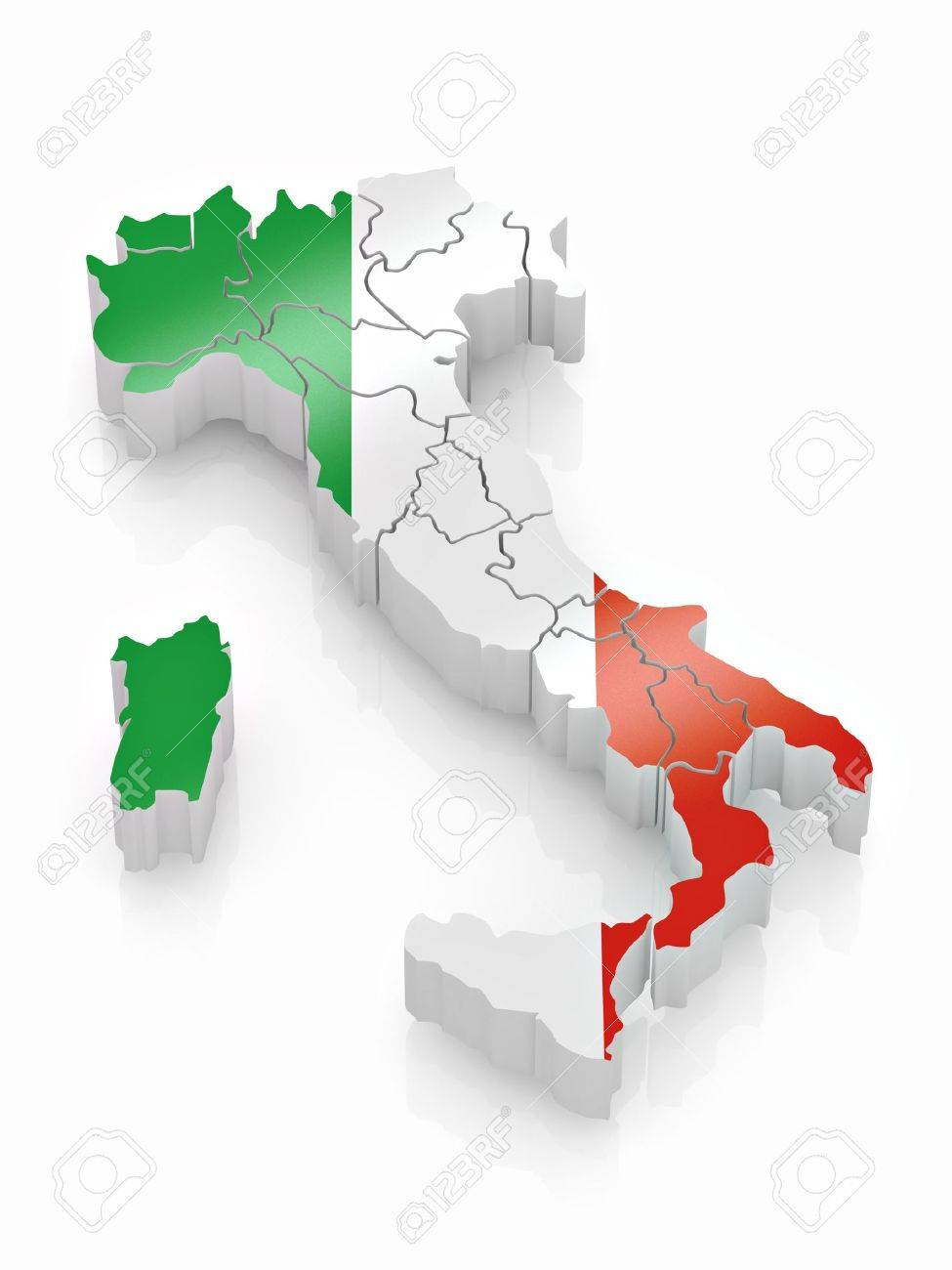 Map of Italy in Italian flag colors. 3d Stock Photo - 8667646