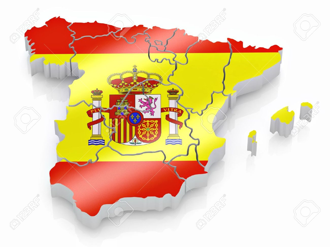 3d Map Of Spain.Map Of Spain In Spanish Flag Colors 3d