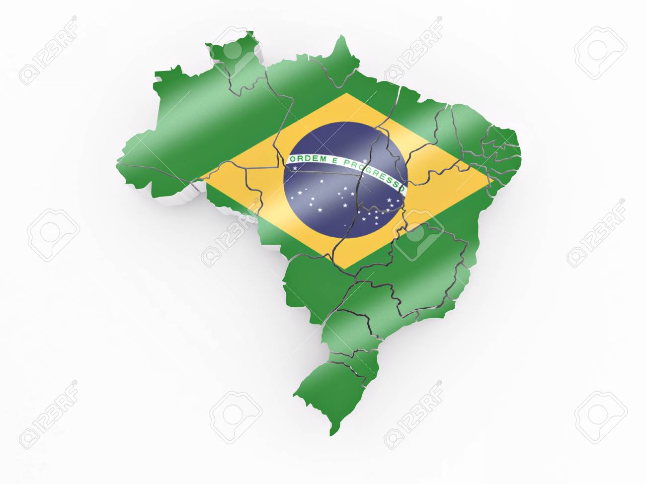 Map of Brazil in Brazilian flag colors. 3d Stock Photo - 8779516