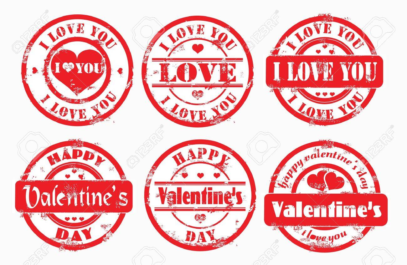 Stamp happy valentine's day and i love you. Vector illustration. Stock Photo - 8779630