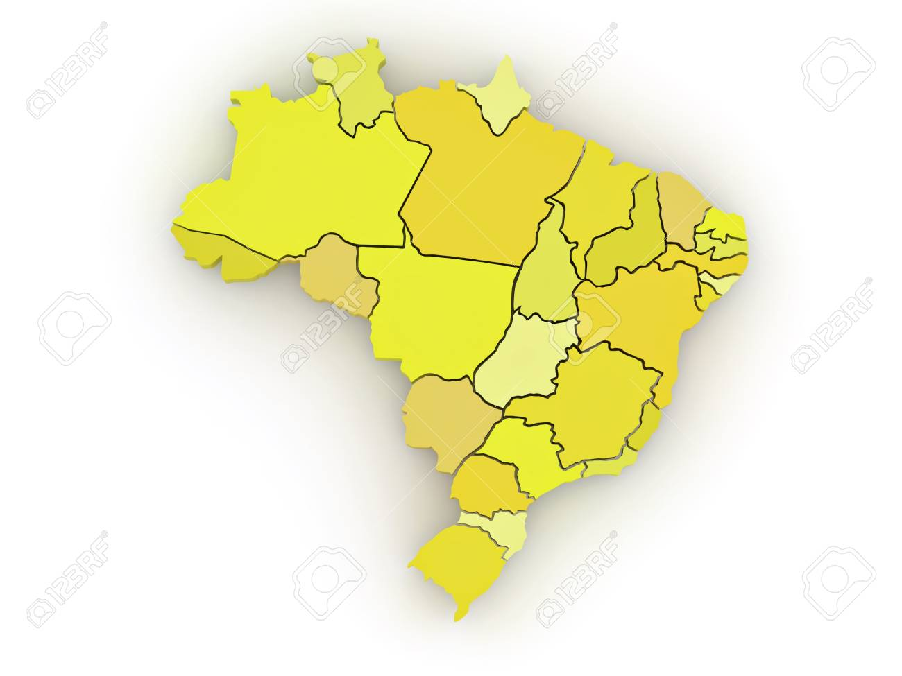 Three-dimensional map of Brazil on white isolated background. 3d Stock Photo - 8919976