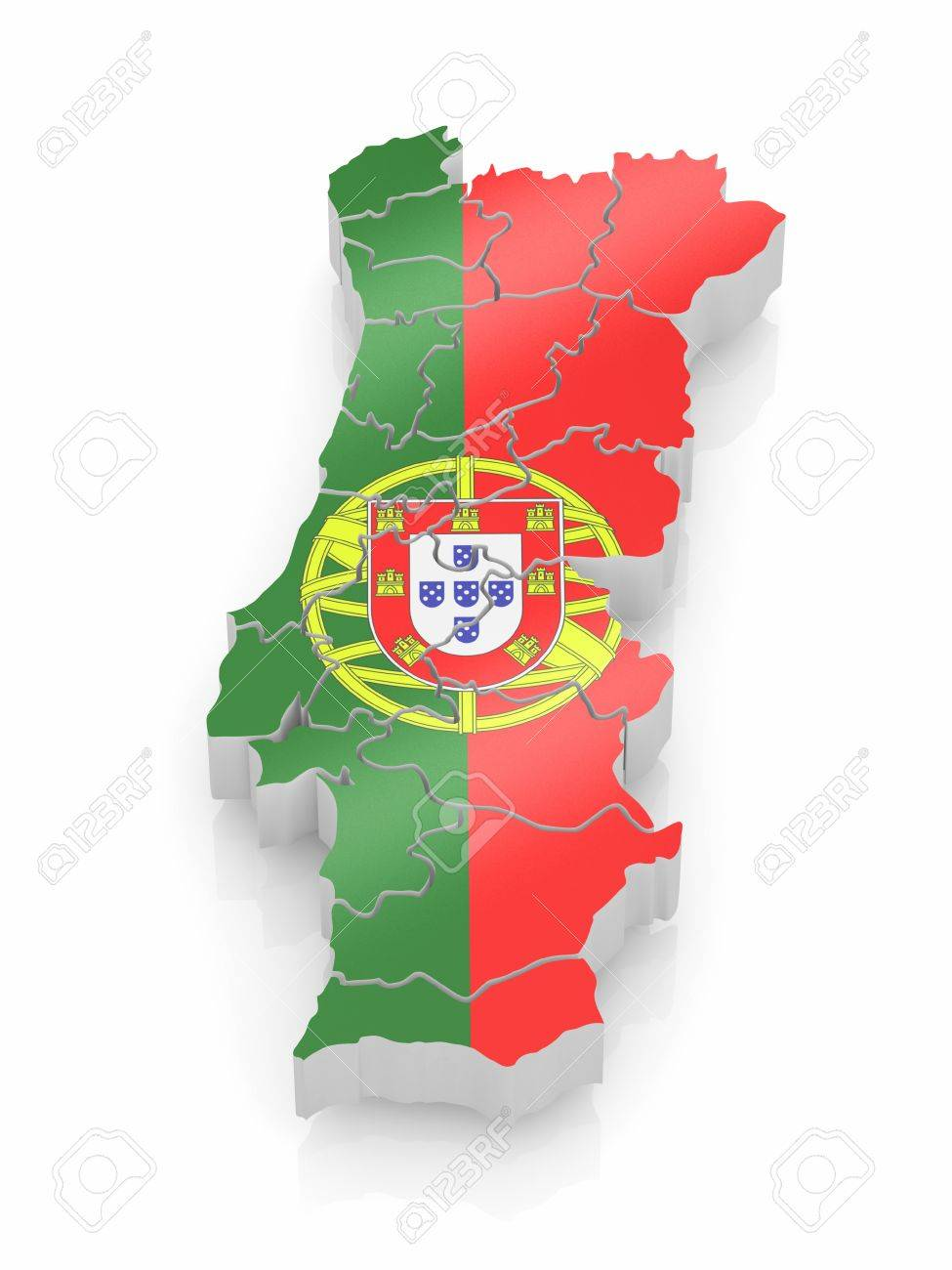Map Of Portugal In Portugese Flag Colors D Stock Photo Picture - Portugal map flag
