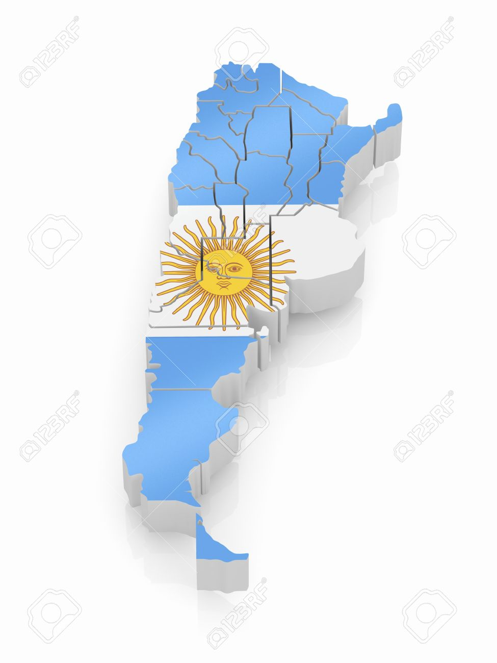 Map Of Argentina In Argentinian Flag Colors D Stock Photo - Argentina 3d map