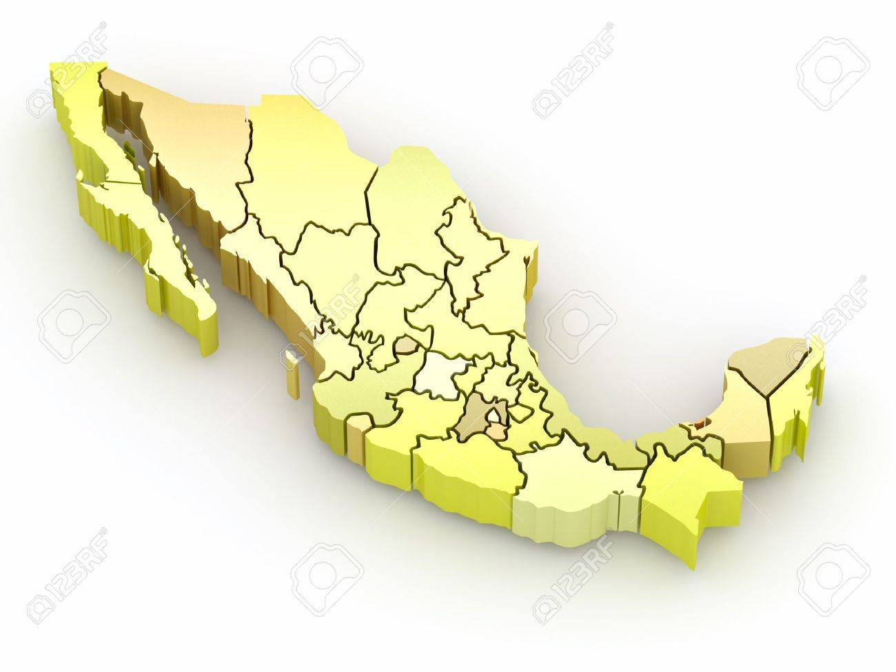 Three-dimensional map of Mexico on white isolated background. 3d Stock Photo - 8919991