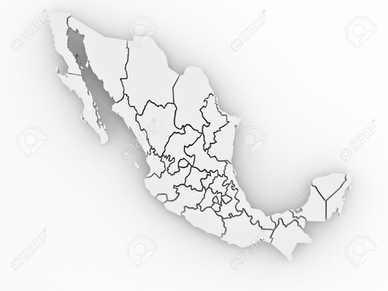 three dimensional map of mexico on white isolated background