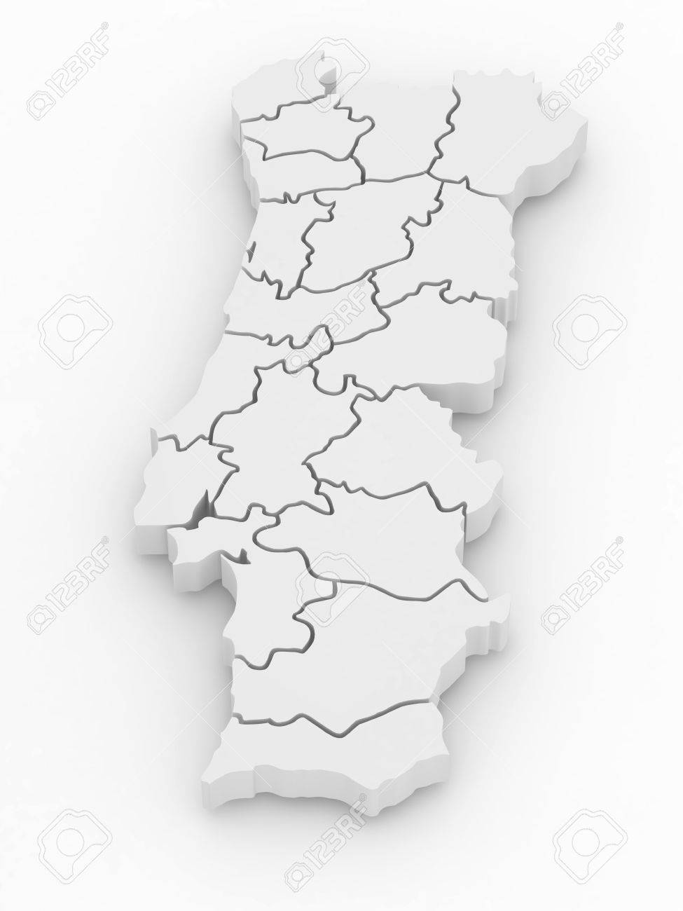 Three-dimensional map of Portugal on white isolated background. 3d Stock Photo - 8919978