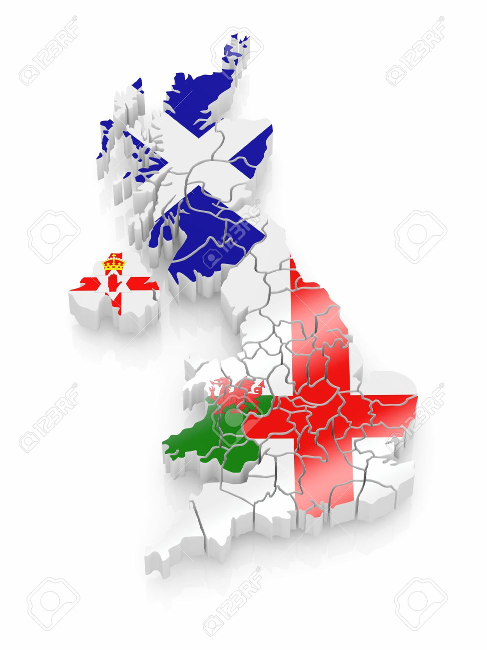Map of Great Britaine in national flag colors. 3d Stock Photo - 8975647