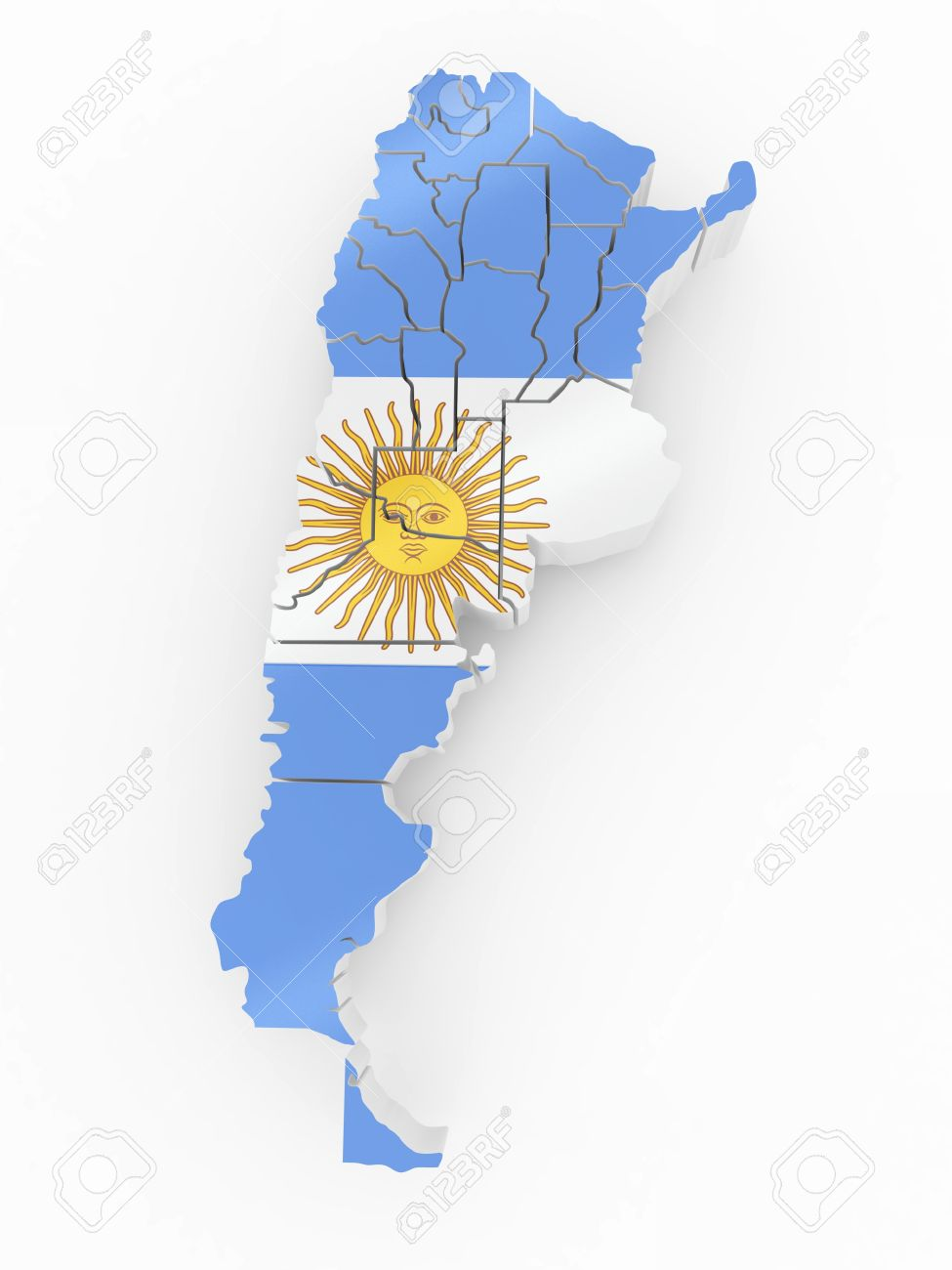 Map Of Argentina In Argentinian Flag Colors D Stock Photo - Argentina globe map