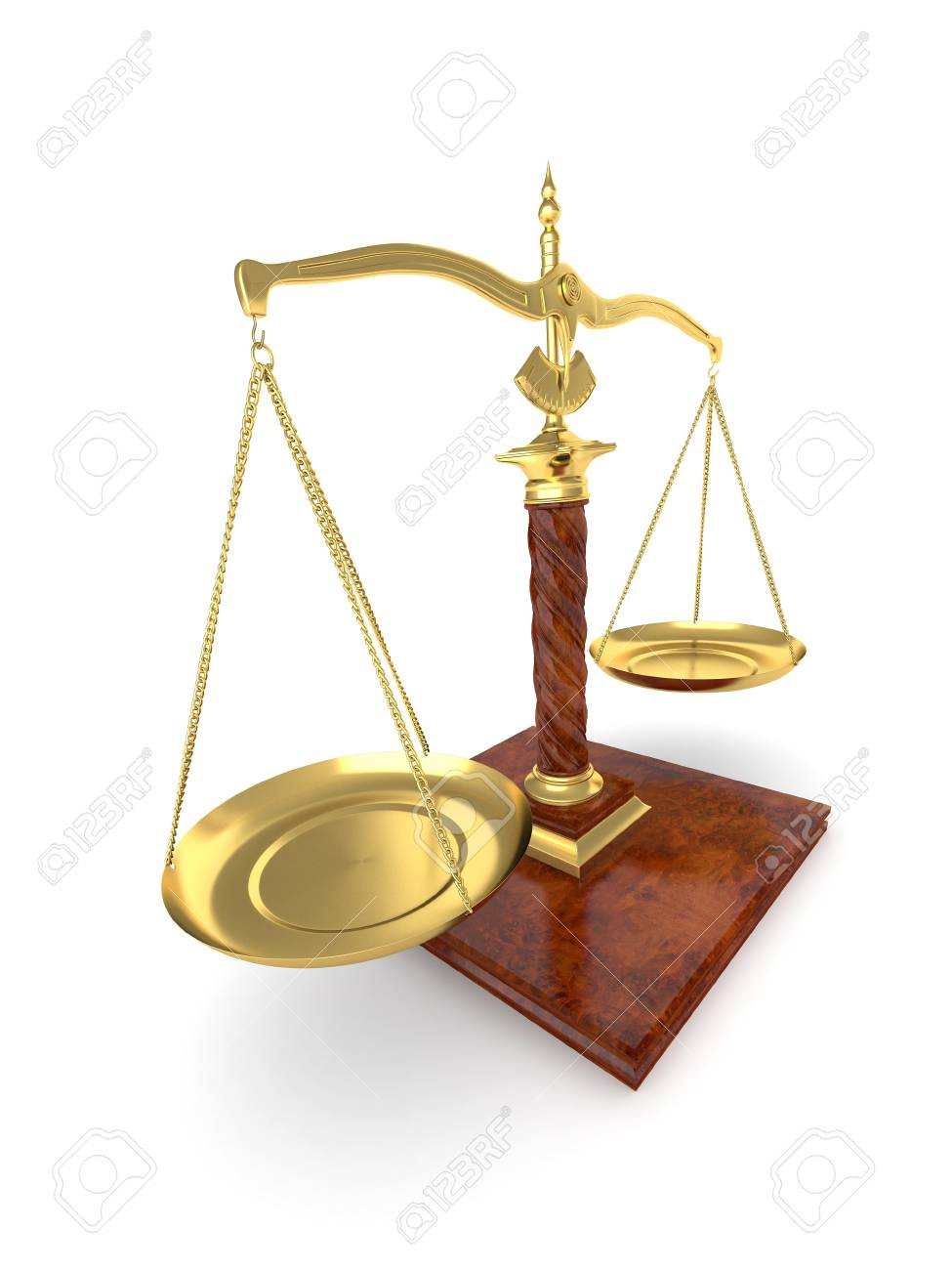 Symbol of justice. Scale on white isolated background. 3d Stock Photo - 9083265