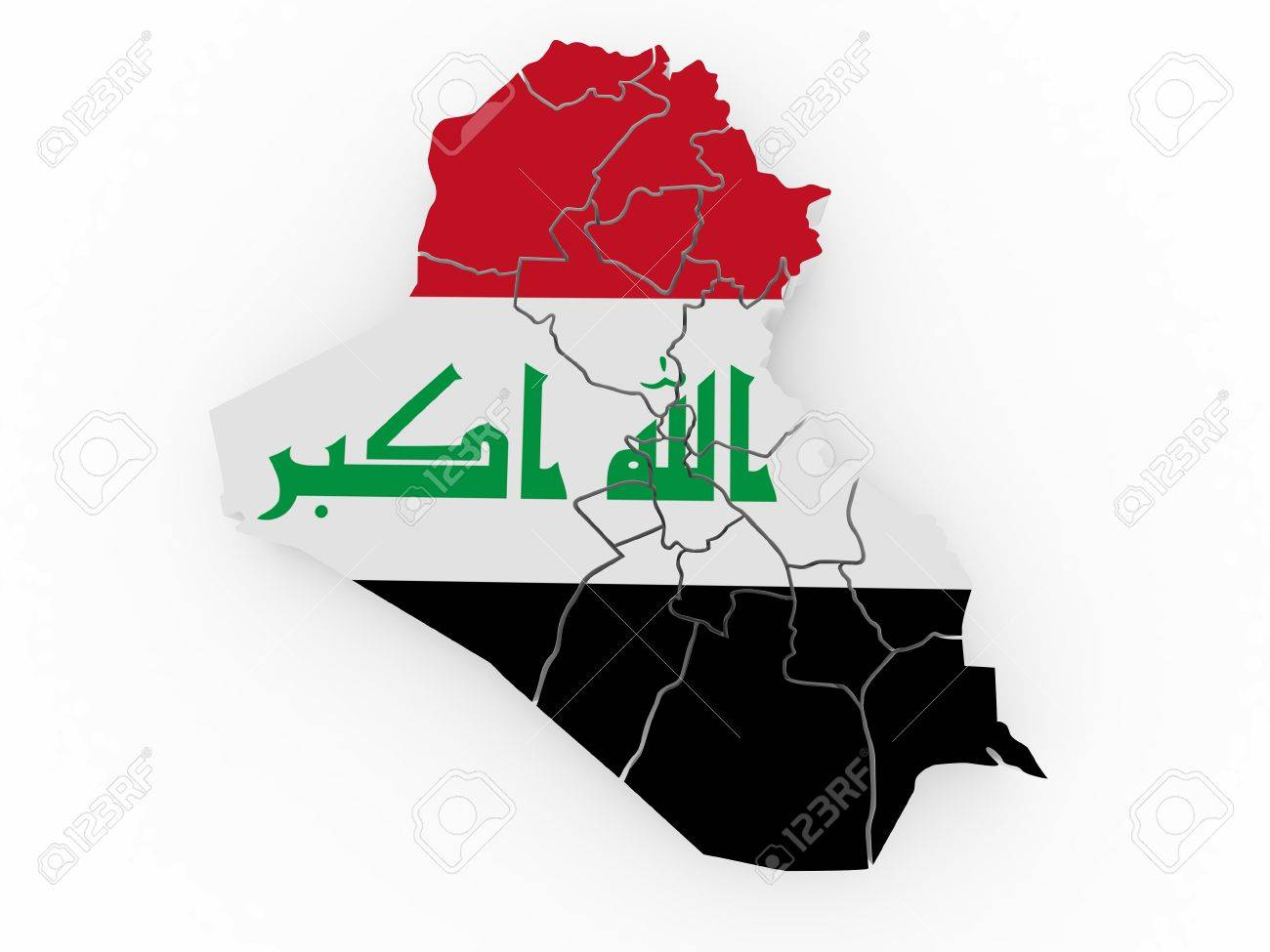 Map of Iraq in Iraqi flag colors. 3d Stock Photo - 9148300