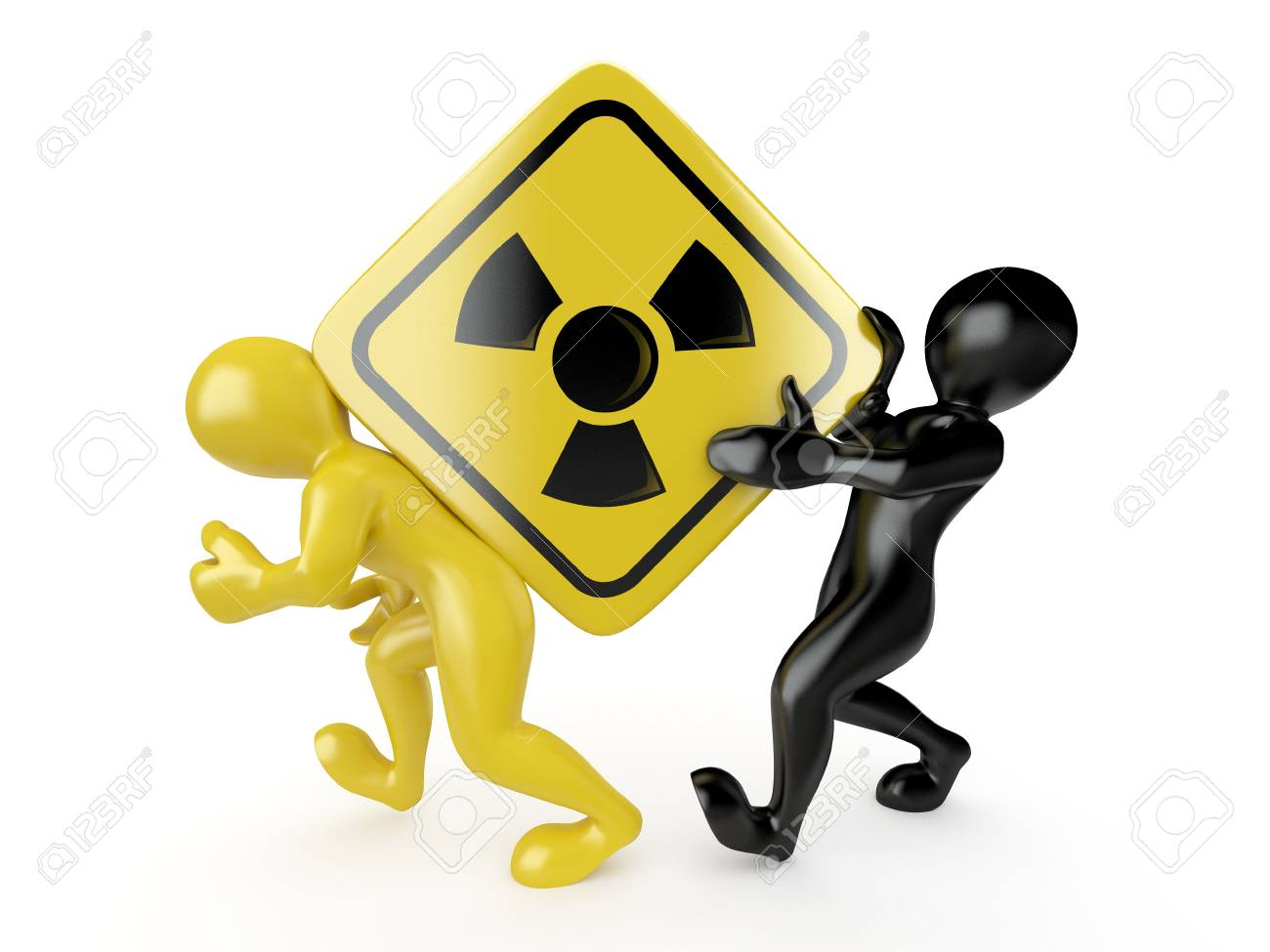 Two men with simbol of radiation. 3d Stock Photo - 9148354
