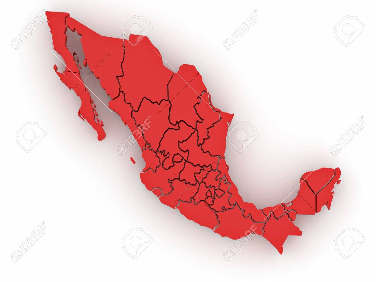 Three-dimensional map of Mexico on white isolated background. 3d Stock Photo - 9203407