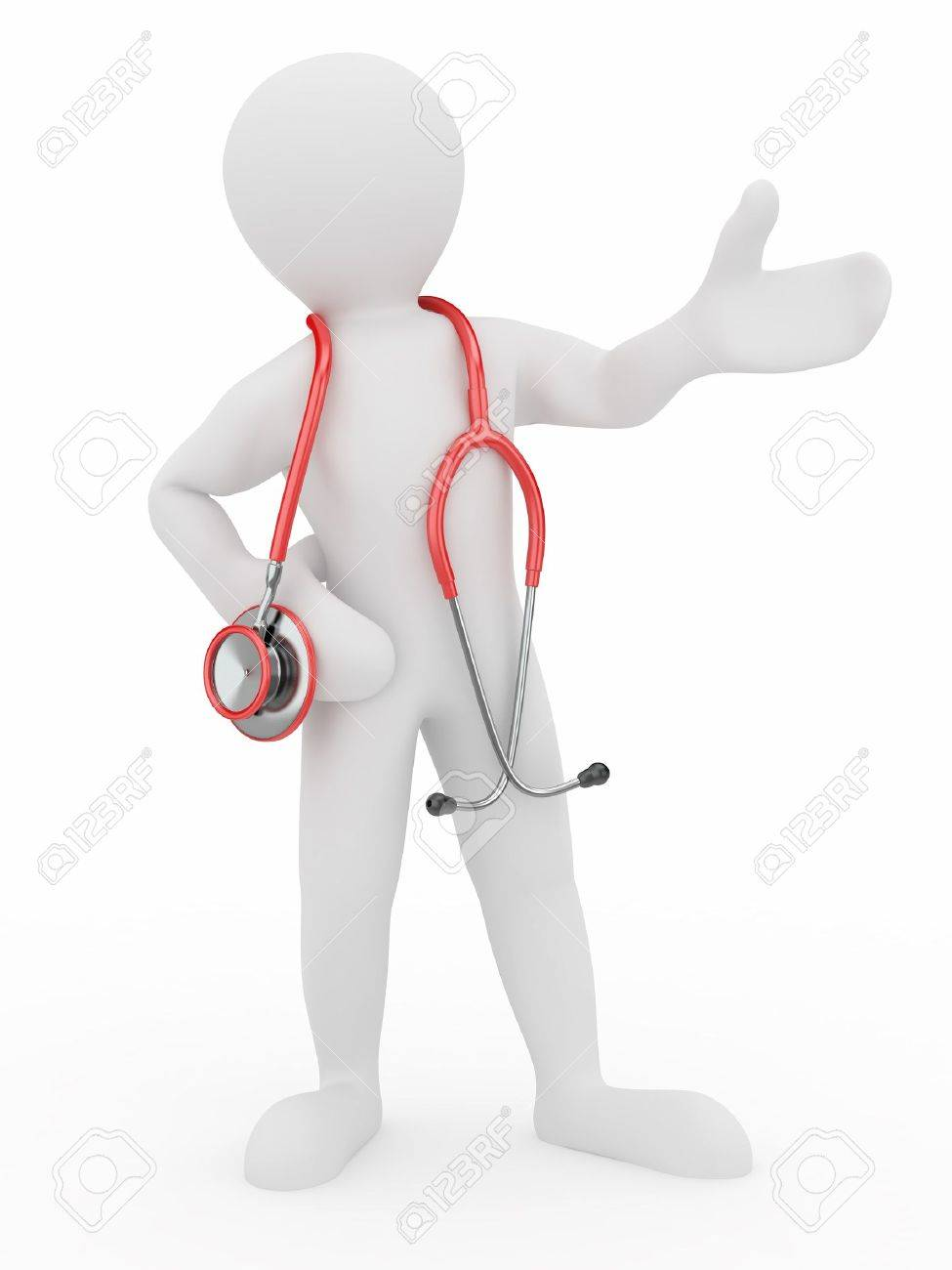 Men with stethoscope on white isolated background. 3d Stock Photo - 9388136