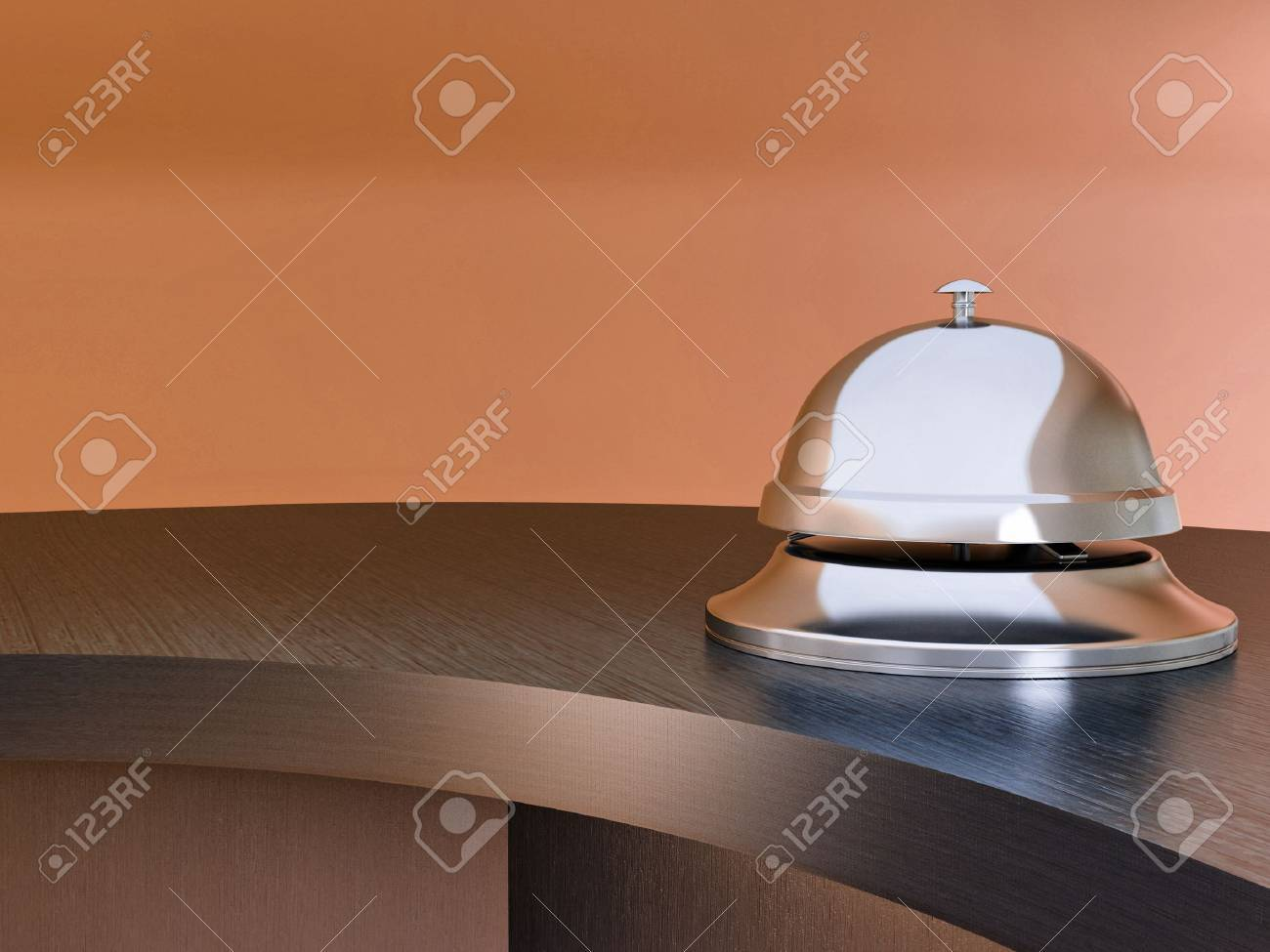 Hotel bell on the table. Reception. 3d Stock Photo - 9557297