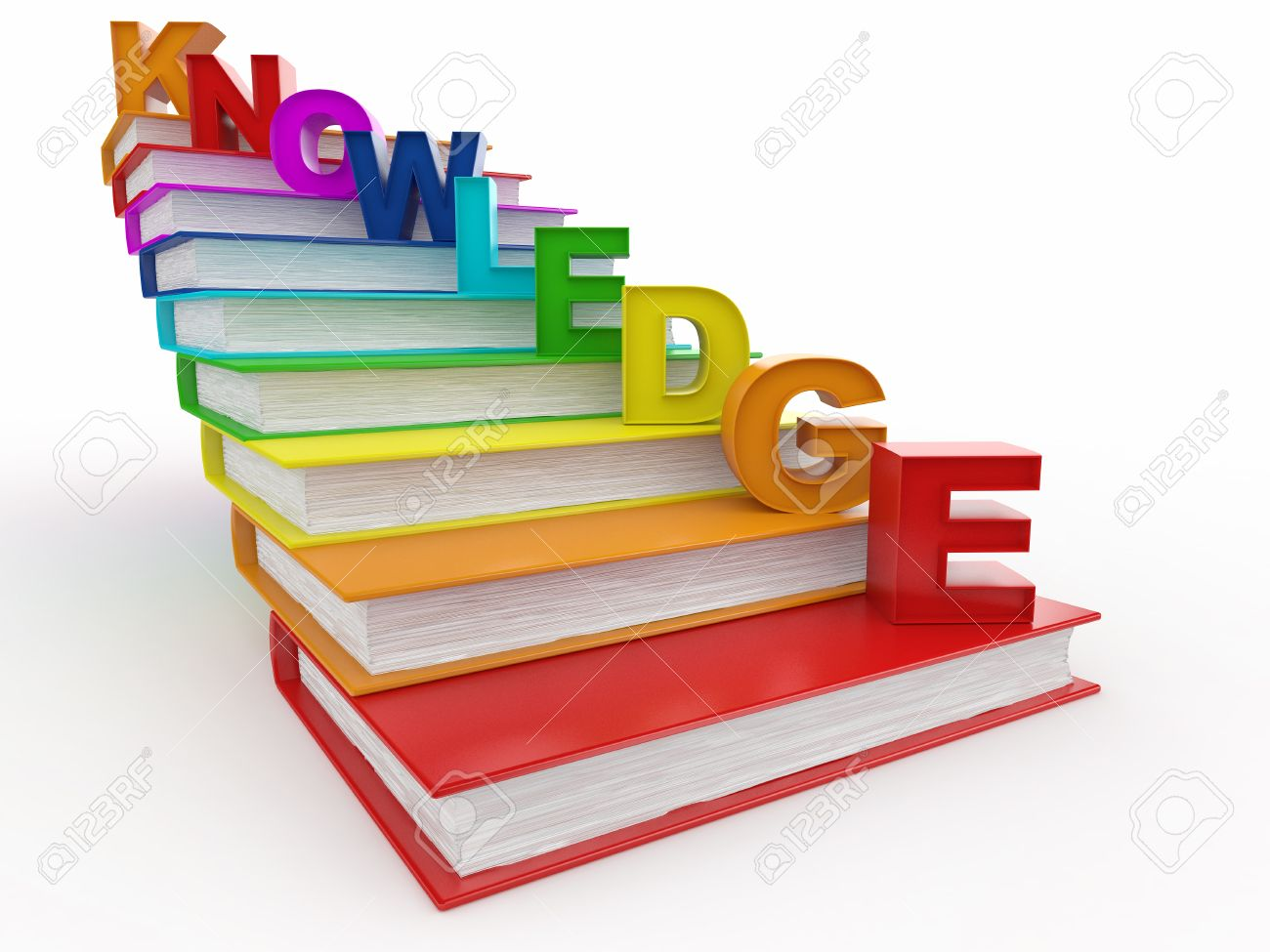 Word knowledge on books as staircase. 3d Stock Photo - 9557314