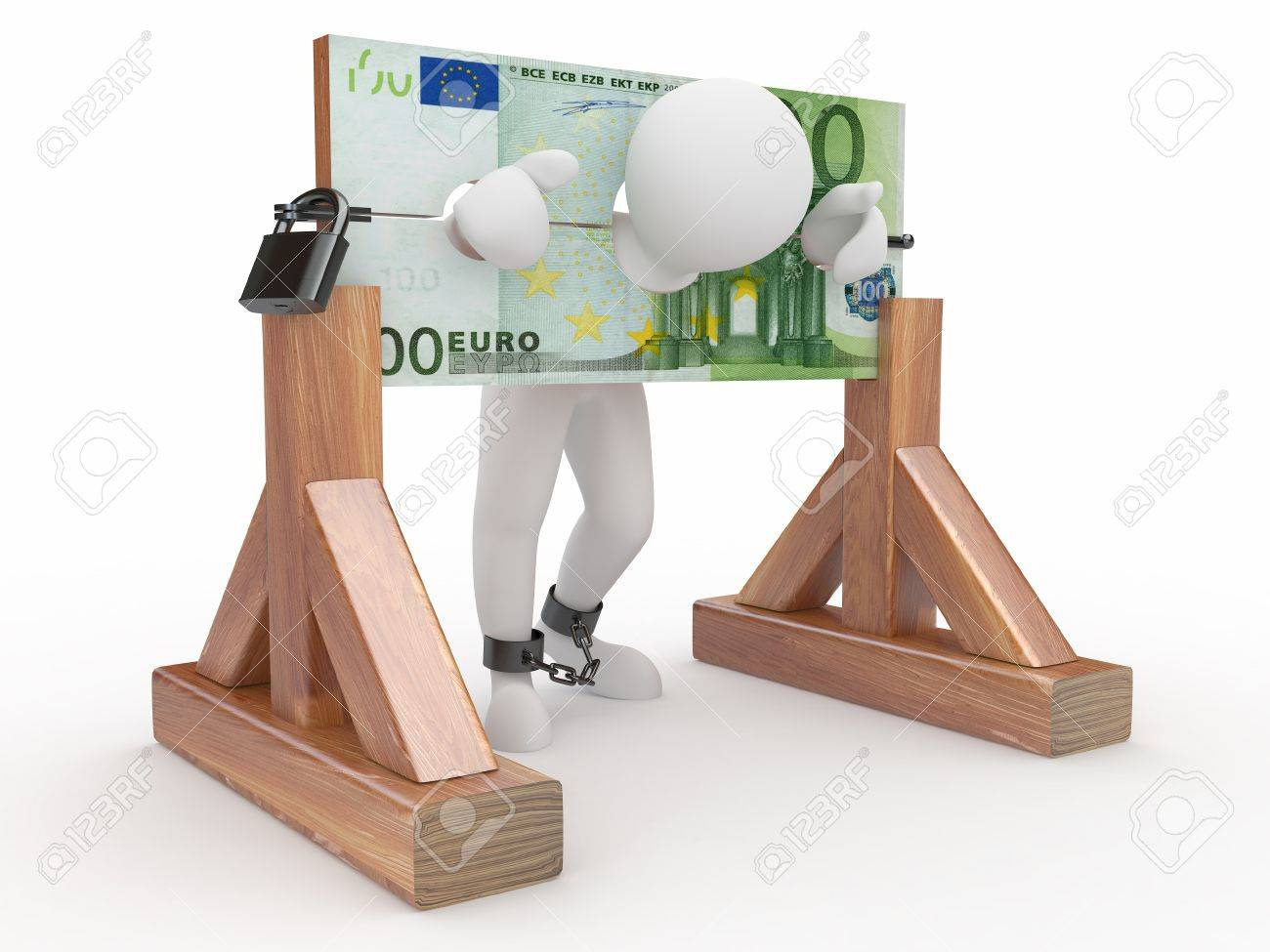 Man being held hostage by money. 3d Stock Photo - 9883794