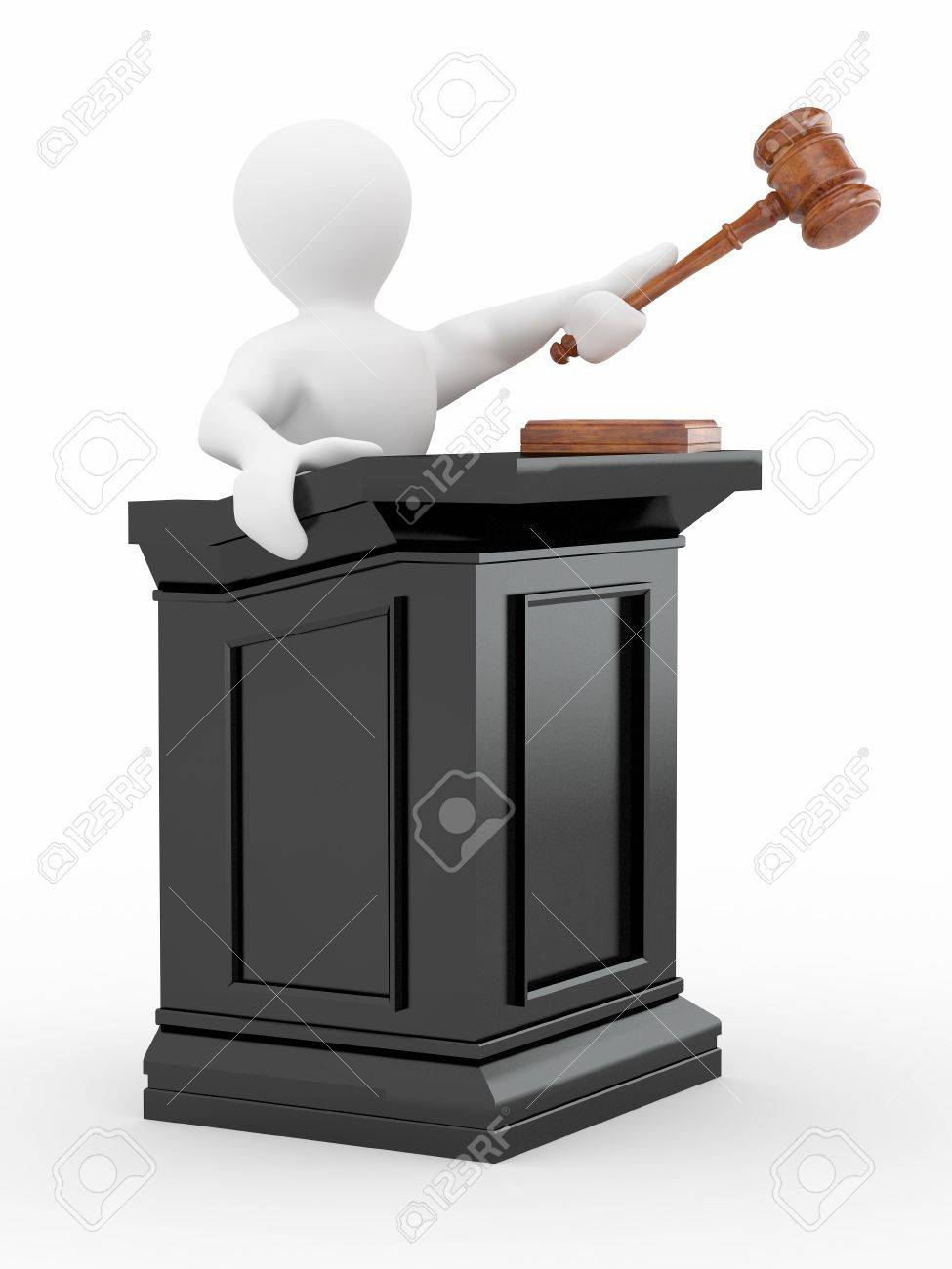 Men with gavel on white isolated background. 3d Stock Photo - 10047441