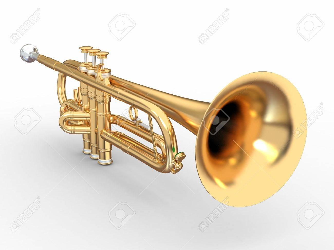 Golden trumpet on white isolated background. 3d Stock Photo - 10407362