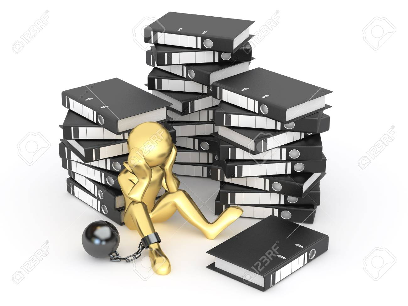 Clerk in archive. Men with folders. 3d Stock Photo - 10454455