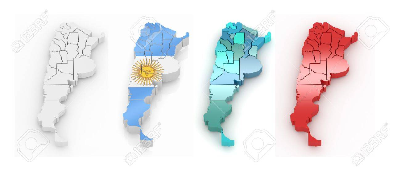 Threedimensional Map Of Argentina On White Isolated Background - Argentina 3d map