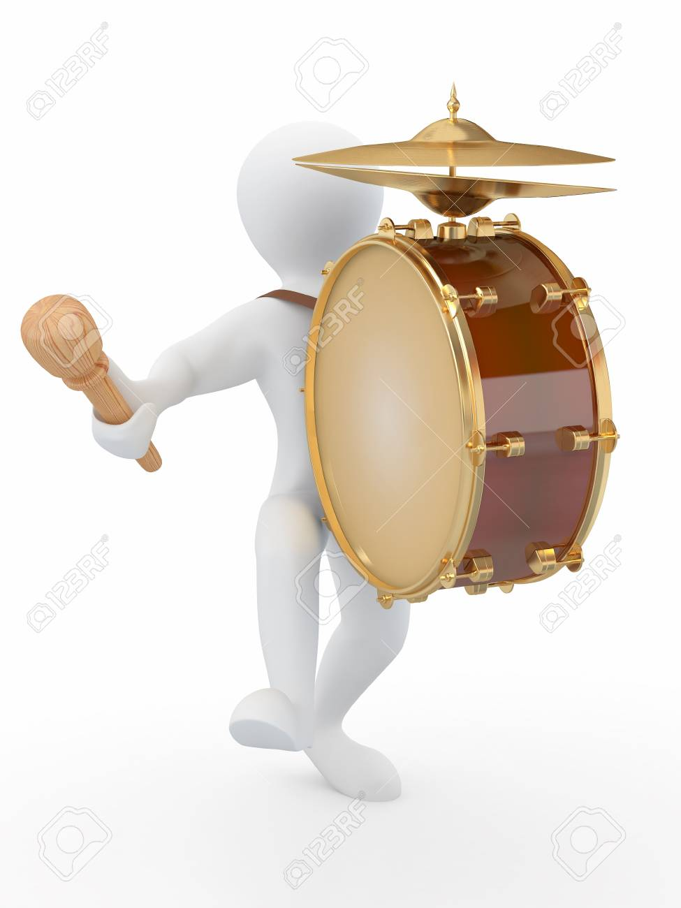 Man with drum and drumstick on white isolated background. 3d Stock Photo - 10593880