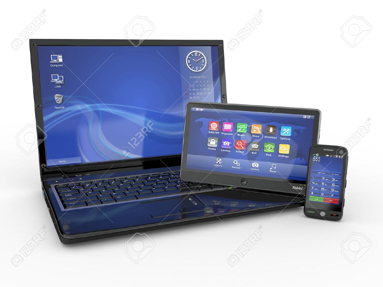Electronics. Laptop, mobile phone and tablet pc. 3d Stock Photo - 10753746