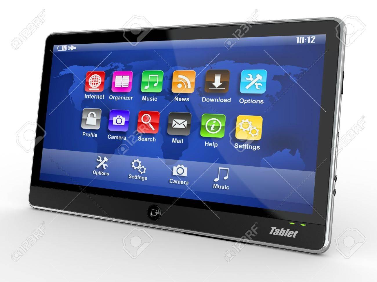 Black tablet pc on white background. 3d Stock Photo - 10753748