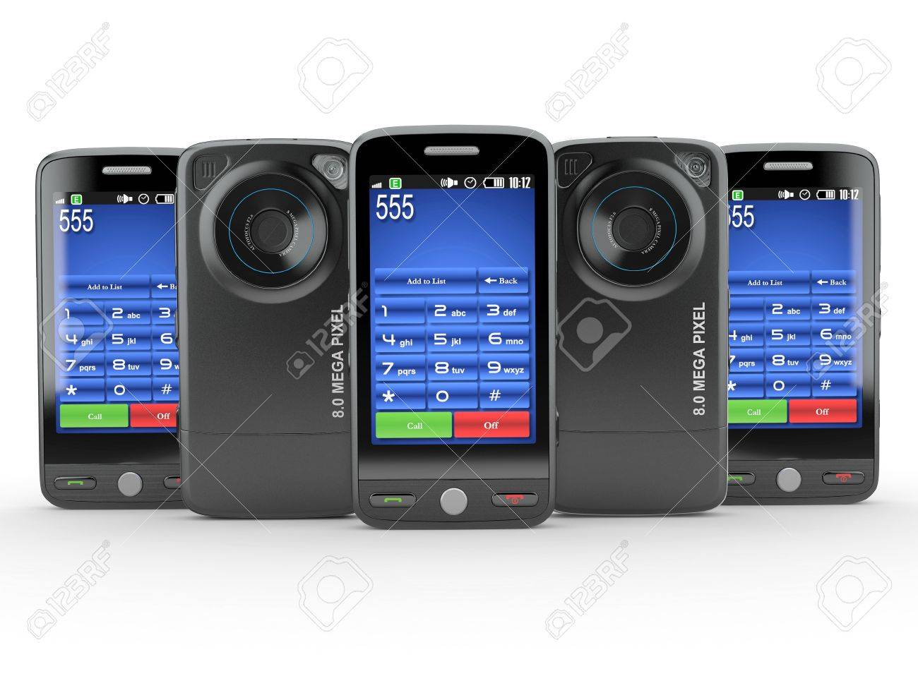 Row of black mobile phone with photo camera. 3d Stock Photo - 10995598