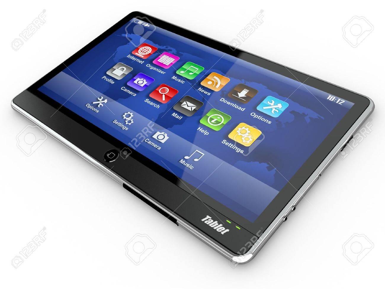 Black tablet pc on white background. 3d Stock Photo - 11212615
